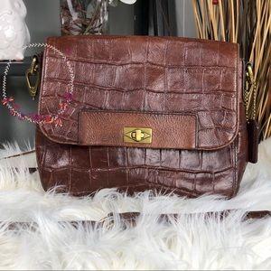 Fossil Amanda Croc Embossed Crossbody Leather Bag